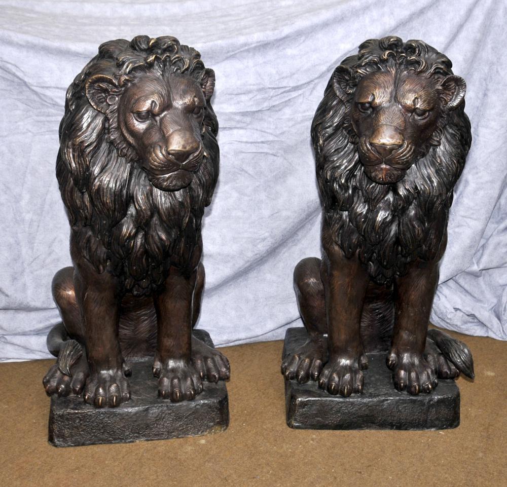 Pair Große Bronze Lion Gatekeeper Statuen Katzen Landseer