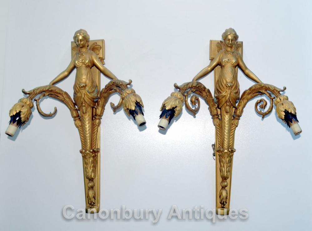 Pair Ormolu Reich Maiden Wandleuchten Wandlampen Kerzenleuchter