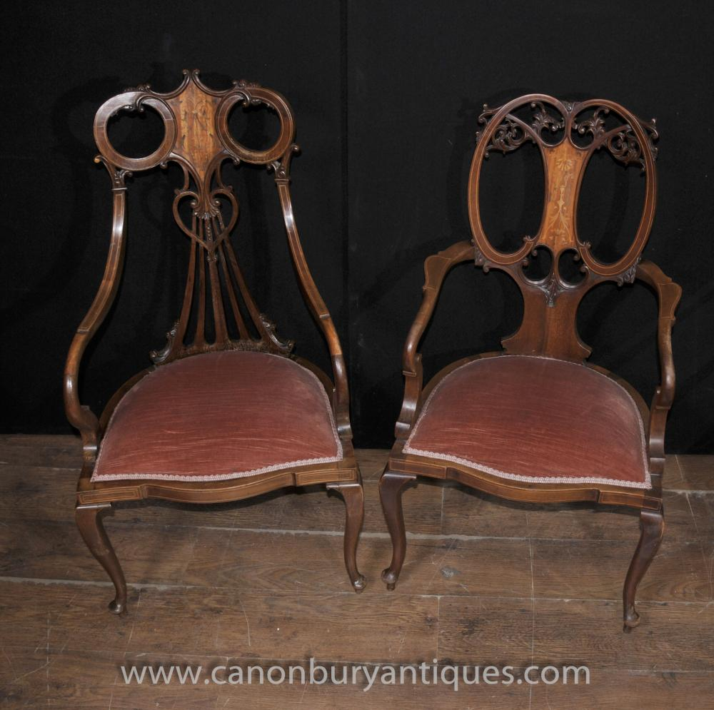 Pair Regency Mahagoni Antique Sessel Sessel Intarsien