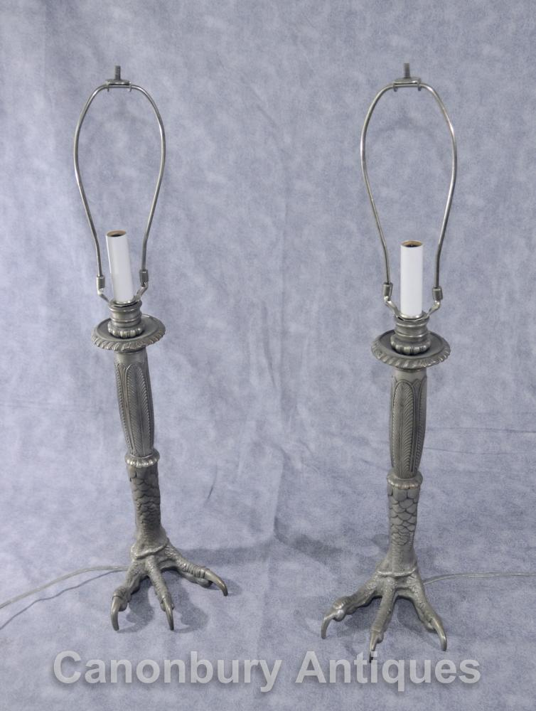 Pair Tiffany Silber Bronze Eagles Fuß Lampensockel Tischleuchten Talon Deco