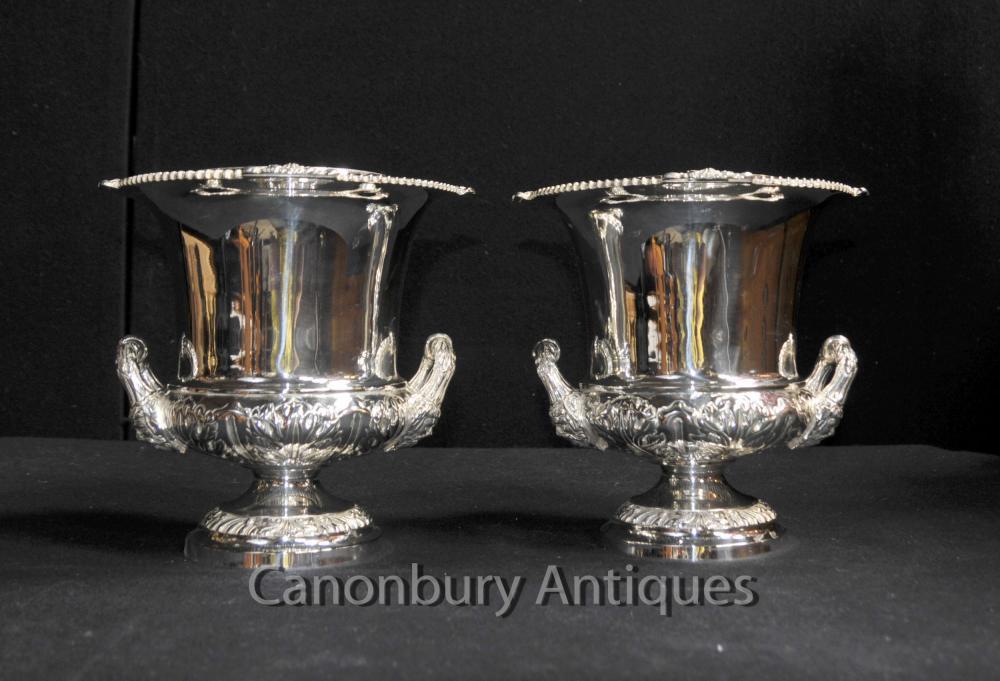 Pair Victorian Sheffield silberne Platten-Champagner Weinkühler Eimer Urnen