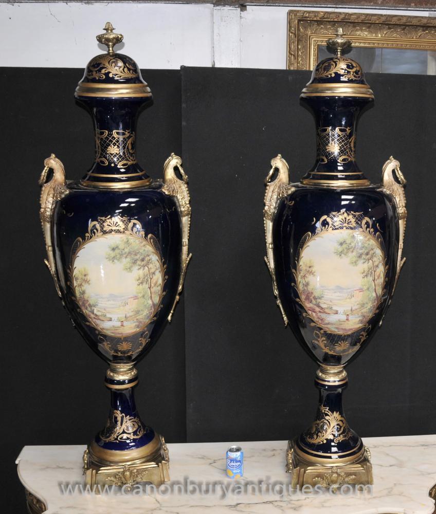Pair XL Sevres Porcelain Amphora Vasen Urnen