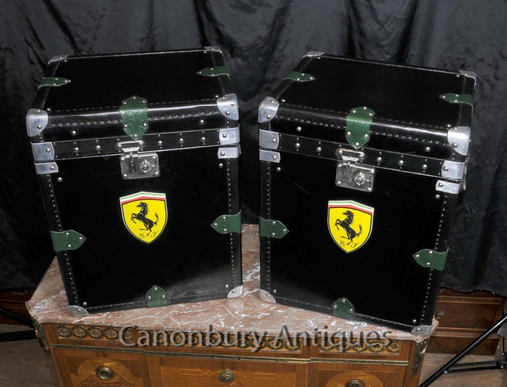 Pair italienischem Leder Ferrari Car Gepäckboxen Cases Dampfer-Stamm Tabelle