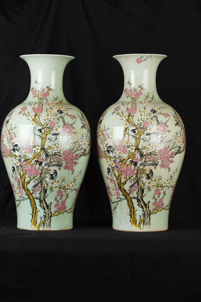 Parell xinès Famille Verte Porcellana Gerros Ming Au Urnes