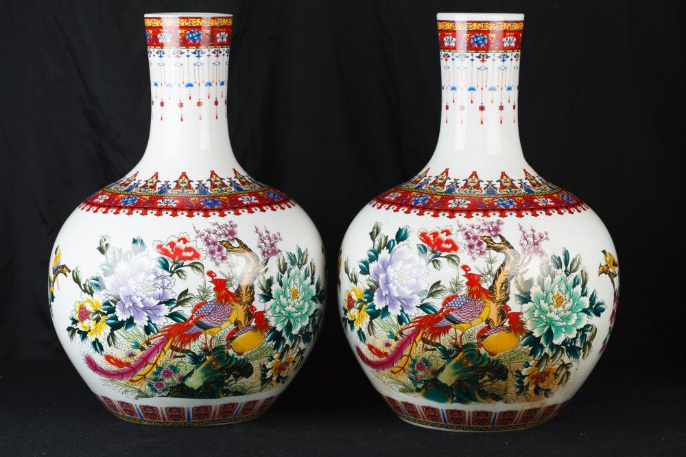 Parell xinès Kangxi porcellana bulboses urnes Faisán Gerros