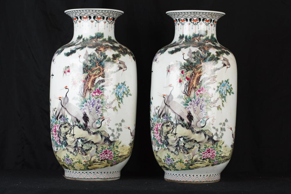 Parell xinès Qianjiang de porcellana Urnes Crane Cigonya pintat de la Xina