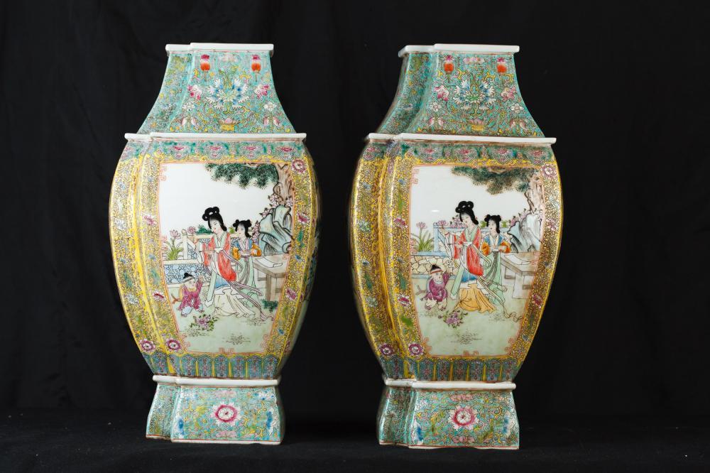 Parell xinès Qianlong Porcellana Gerros Famille Rose Urnes