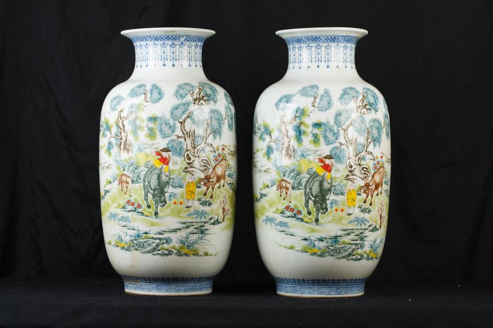 Parella xinesa Qing porcellana Gerros urnes de ceràmica de la Xina de ceràmica