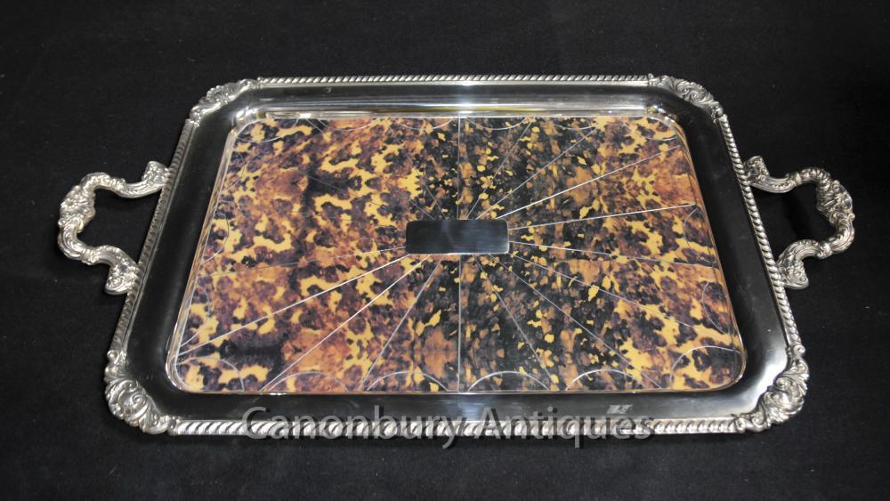 Regency silberne Platten Serviertablett Butlers Platter Faux-Schildpatt-