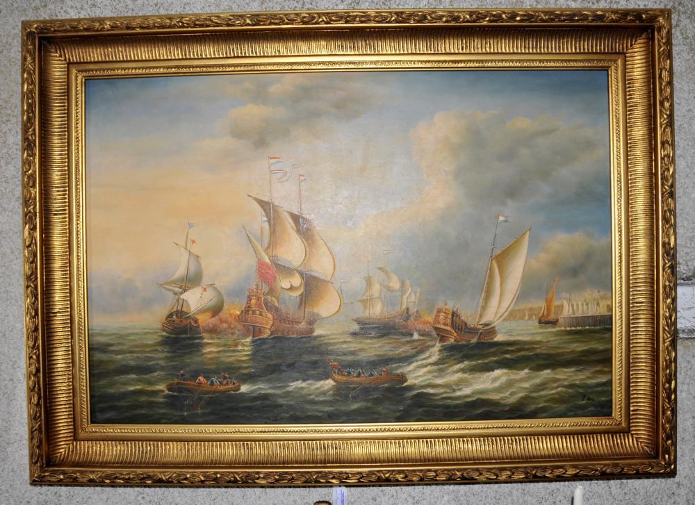 Schlacht von Trafalgar Royal Navy Ölgemälde Gilt Frame