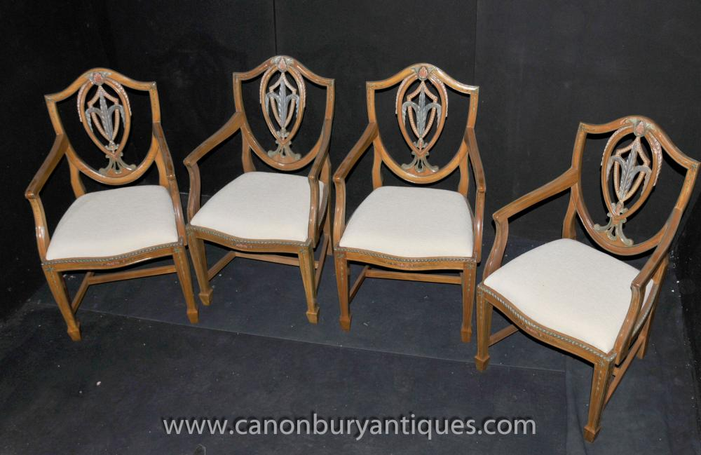 Set 4 Prince of Wales Sessel Satinwood Dining Chair