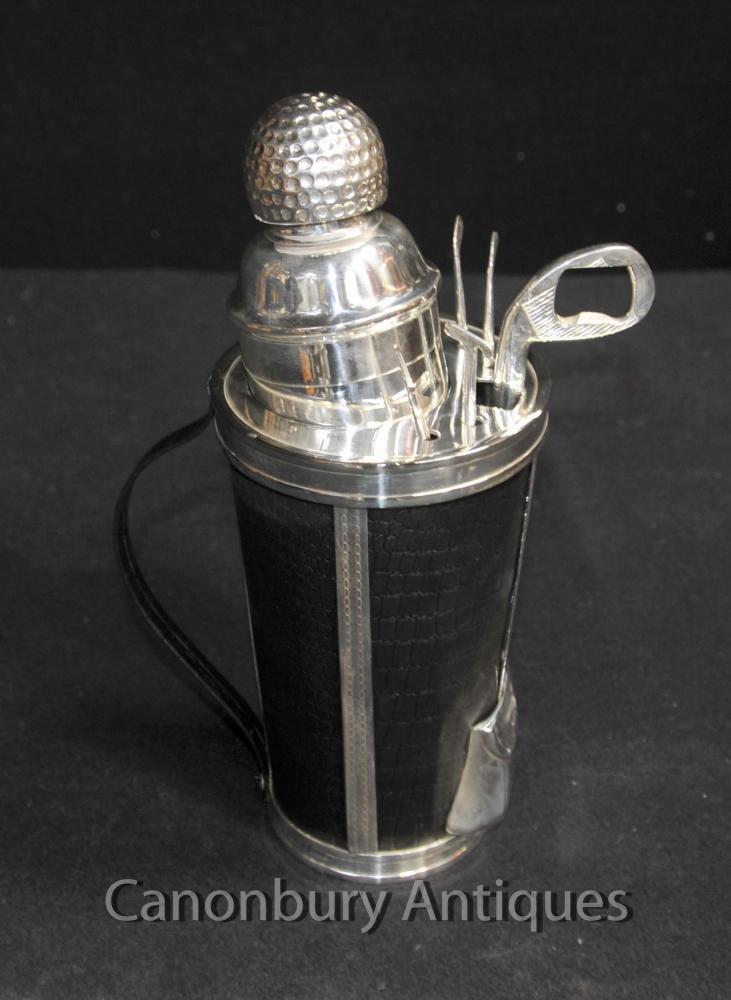 Silberne Platten-Golf Cocktail Shaker Getränke Set