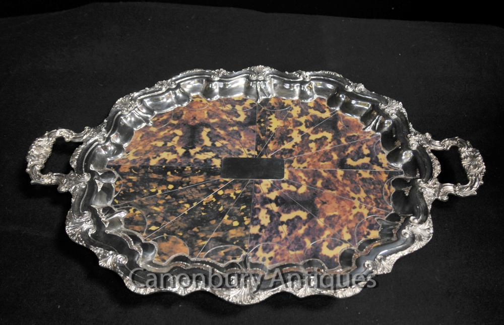 Silberne Platten Victorian Butlers Fach Platter Faux Tortoiseshell Rococo