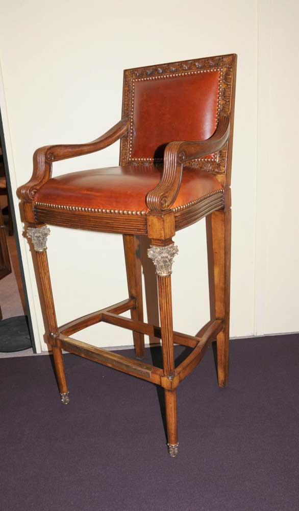 Victorian Bar Stool Walnut Hand geschnitzte Sitz Hoch Arm Chair