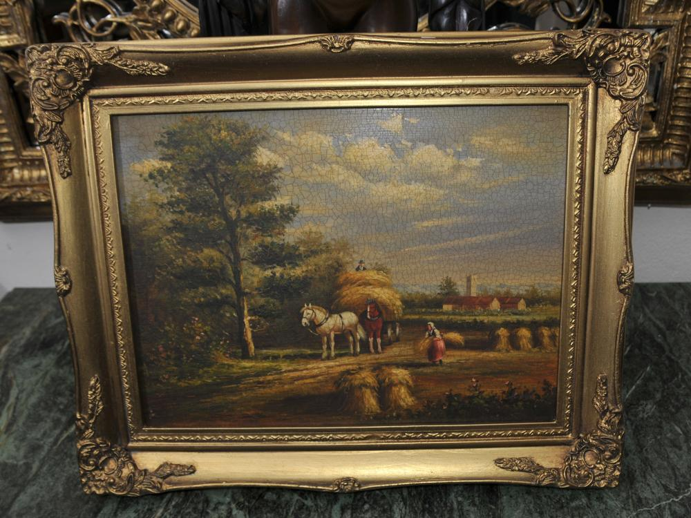 Viktorianische Ölmalerei Rustikal Suffolk Landschaft