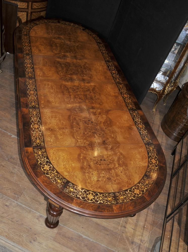Walnut viktorianischen Esstisch Intarsien Ausweitung Ten Seater