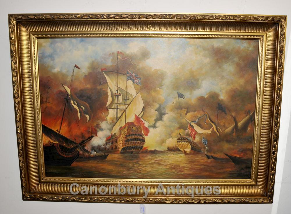 Englisch-Ölgemälde -Kampf-Szene spanische Armada Seascape Marine