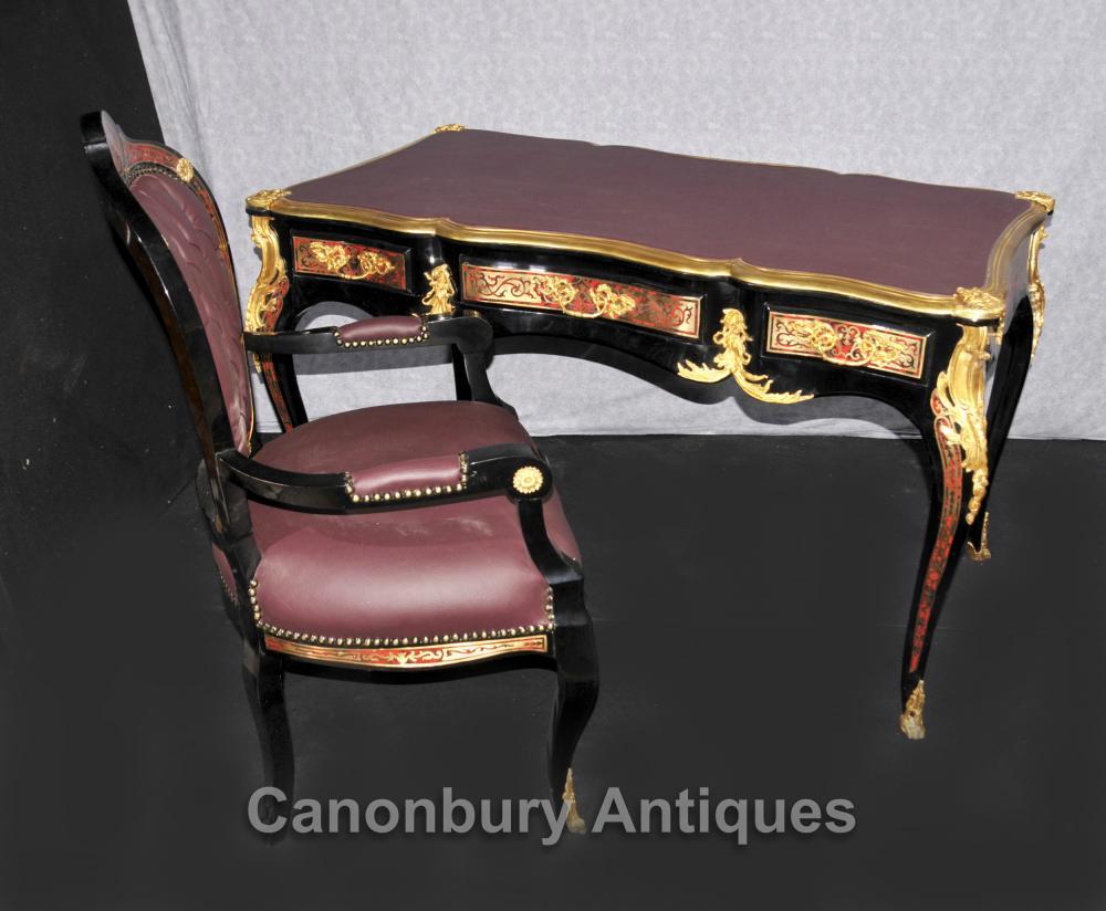 Französisch Boulle Schreibtisch und Stuhl Set Schreibtisch Bureau Inlay Möbel