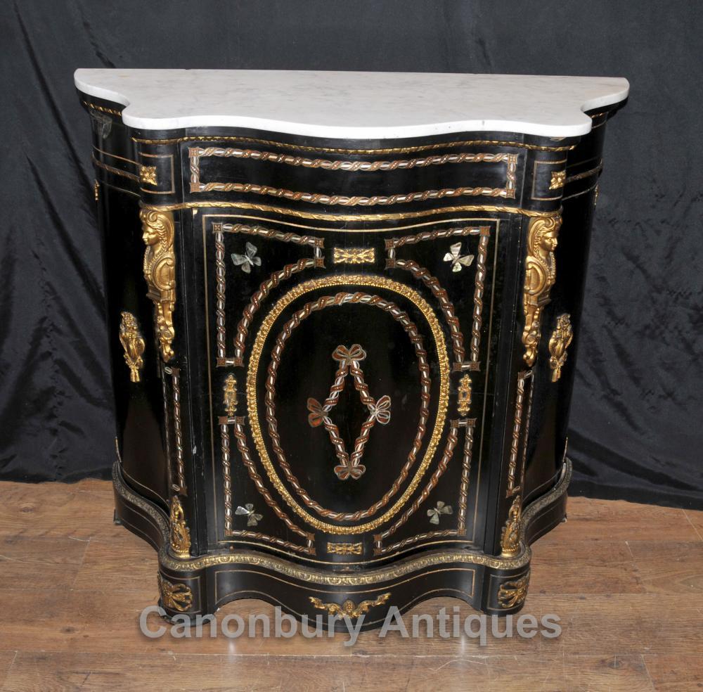 Französisch antike schwarze Lackkabinett Credenza Intarsien Brust