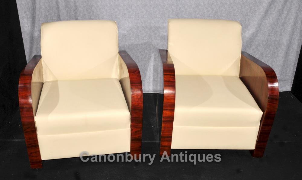 Paar Art Deco Clubsessel Palisander 1920er Sessel