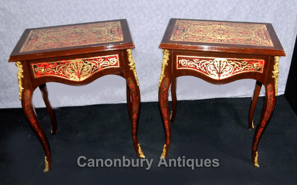 Paar Boulle Beistelltische Louis XV Französisch Möbel Inlay