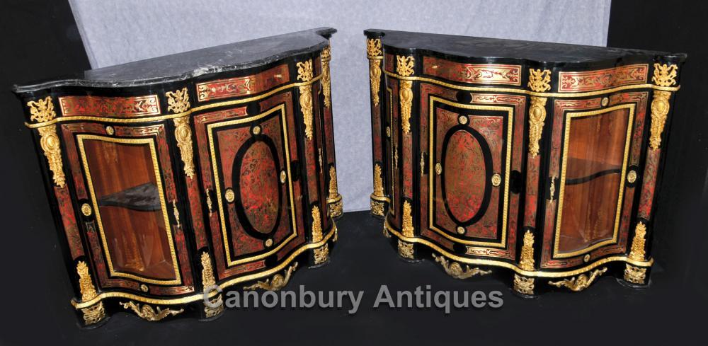 Paar Boulle Inlay Schränke Sideboards Französisch Louis XVI Credenza