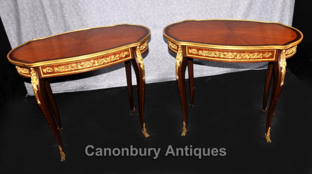 Paar Franse Ryk Oval sytafels verf goud Bevestiging