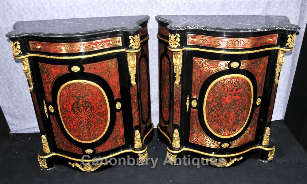 Paar Französisch Boulle Schränke Kommoden Louis XVI Intarsien Möbel