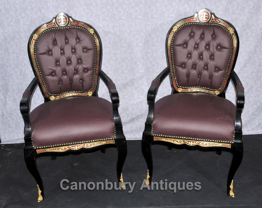Paar Französisch Boulle Sessel Louis XV Fauteuil Chair