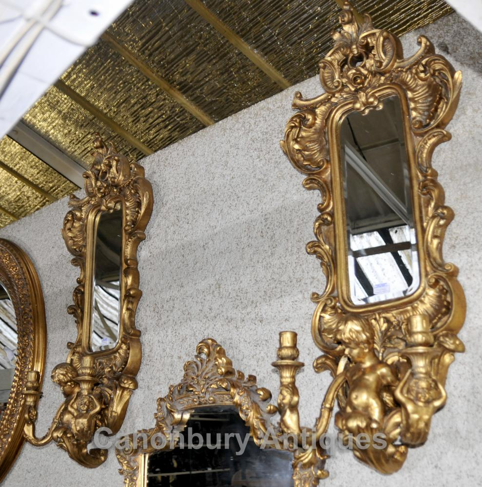 Paar Französisch Cherub Gilt Girandole Spiegel Louis XVI Wandlampen Kerzenleuchter