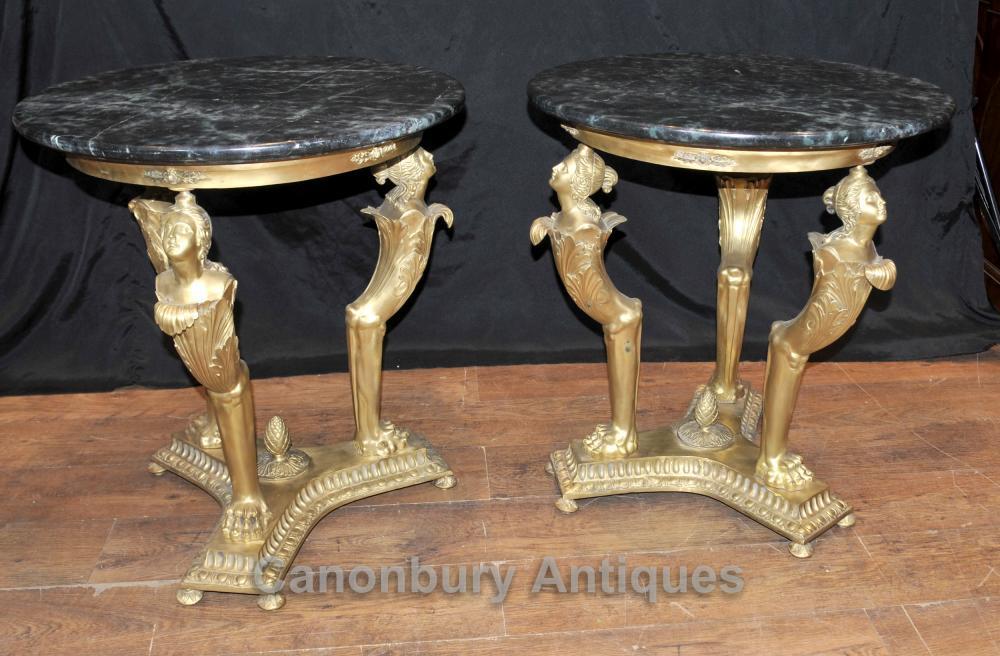 Paar Französisch Reich Antike Maiden Beistelltische Ormolu