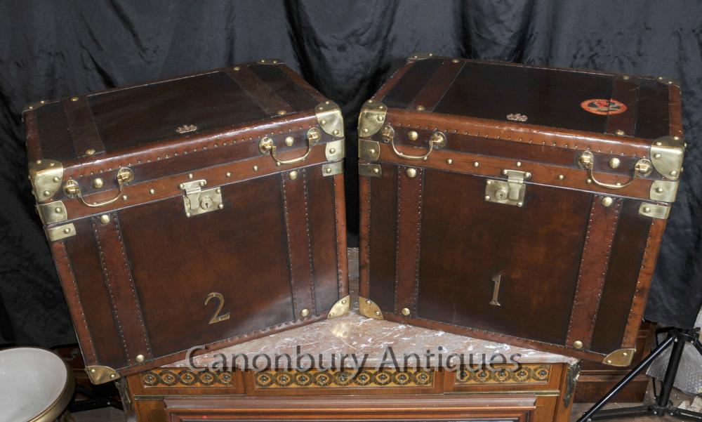 Paar Leder-Dampfer-Stamm Gepäck Hüllen Boxen Beistelltische