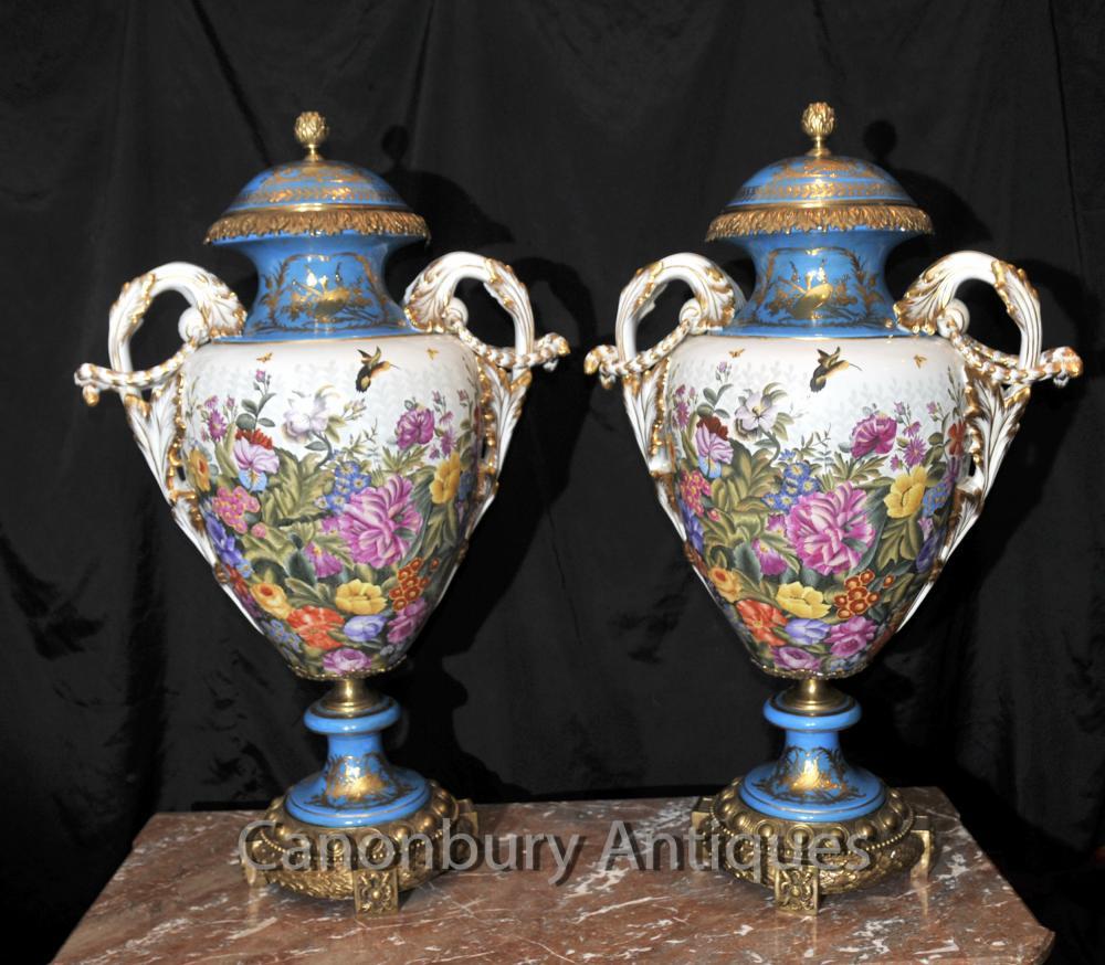 Paar Sevres Tropical Amphora Vasen Urnen Cyan Blau