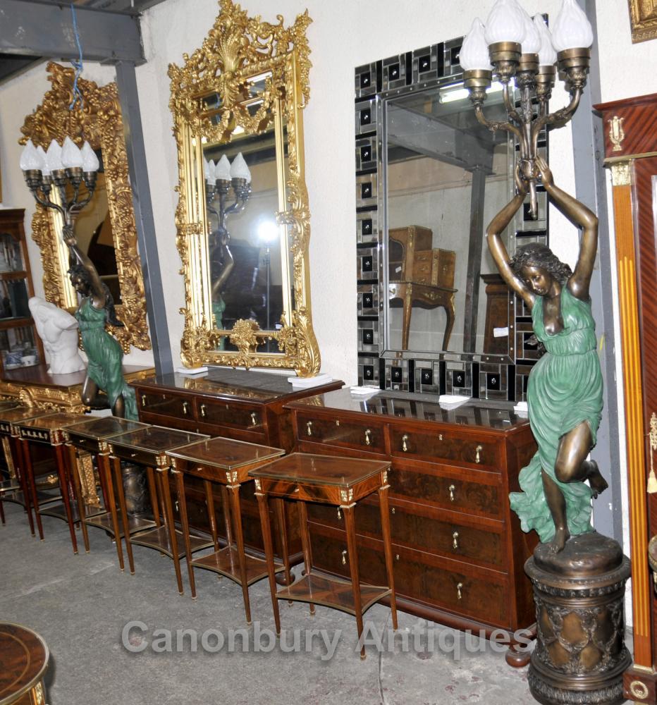 Paar XL Französisch Bronze Jugendstil Torcheres Candelabras weiblichen Figuren