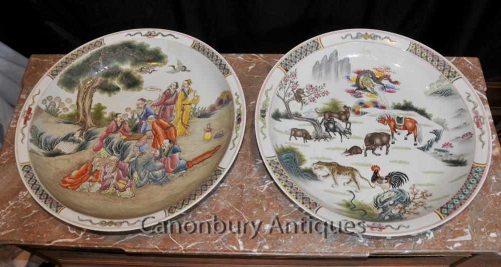 Paar chinesische Qianlong Porzellanteller Kanton Keramik Kantonesisch Plaques