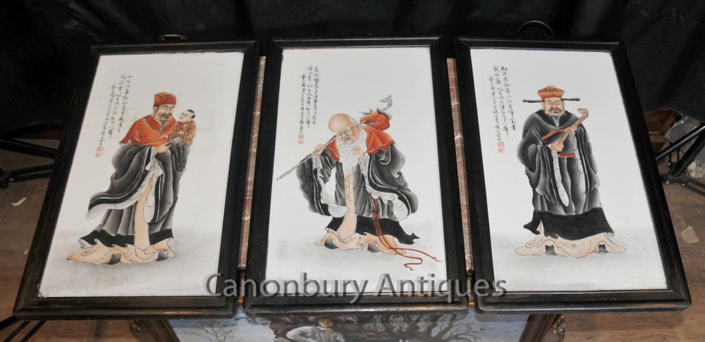Trio chinesischen Porzellanteller Handgemalte Weisen Triptychon