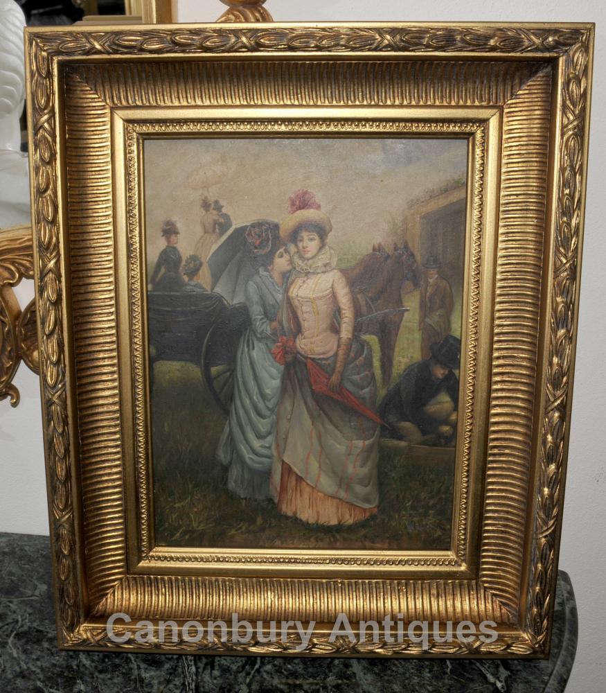 Victorian Ölgemälde Damen an den Rennen Porträt Gilt Frame