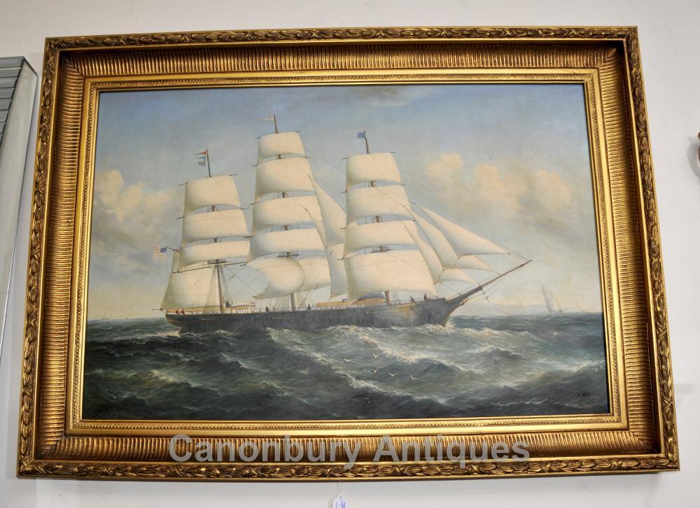 Victorian Ölgemälde Scherer-Schiffs-Marine Maritime Kunst
