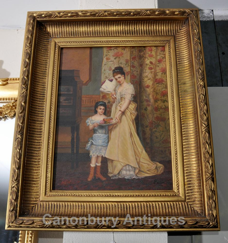 Viktorianische Mutter und Kind Ölgemälde Goldrahmen Englisch Art der Unterzeichnung