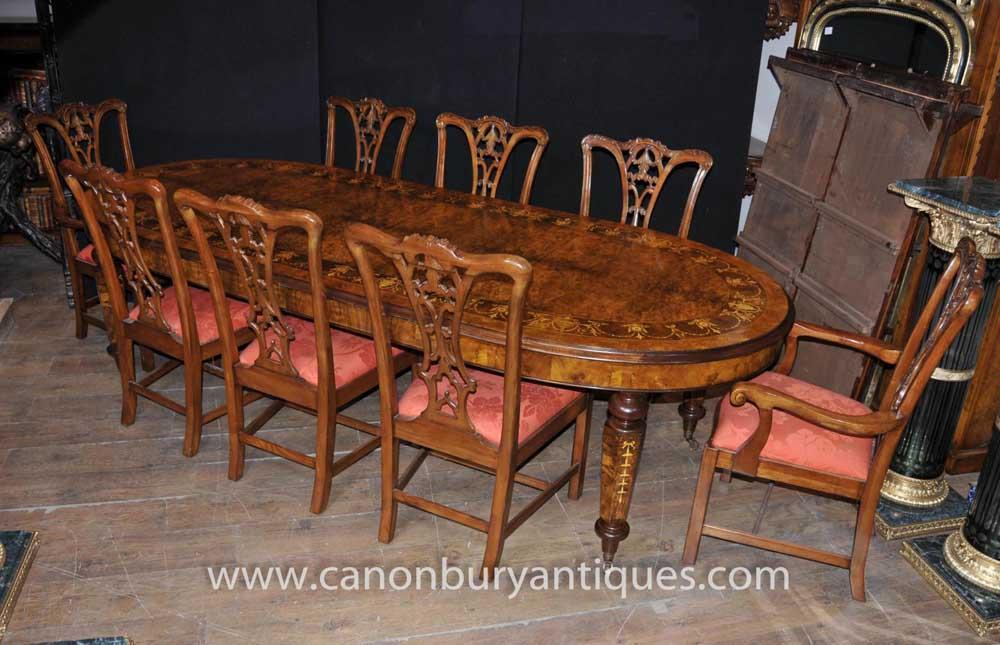 Walnut Victorian Esstisch Chippendale Stuhl Set Tische Stühle Suite
