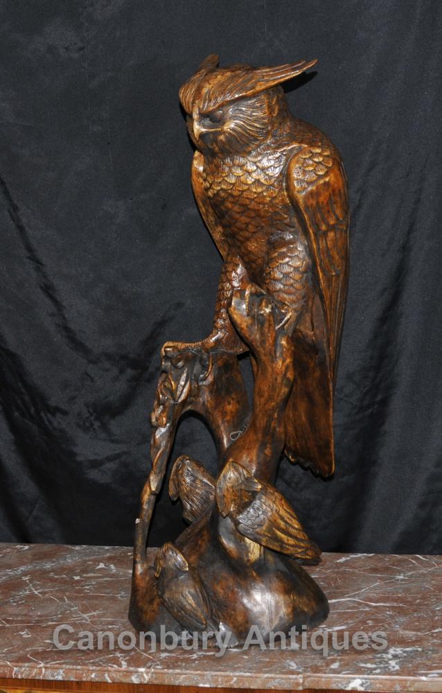 3 ft Hand geschnitzte Sperbereule Schwarzwald Statue Birds Prey Adler