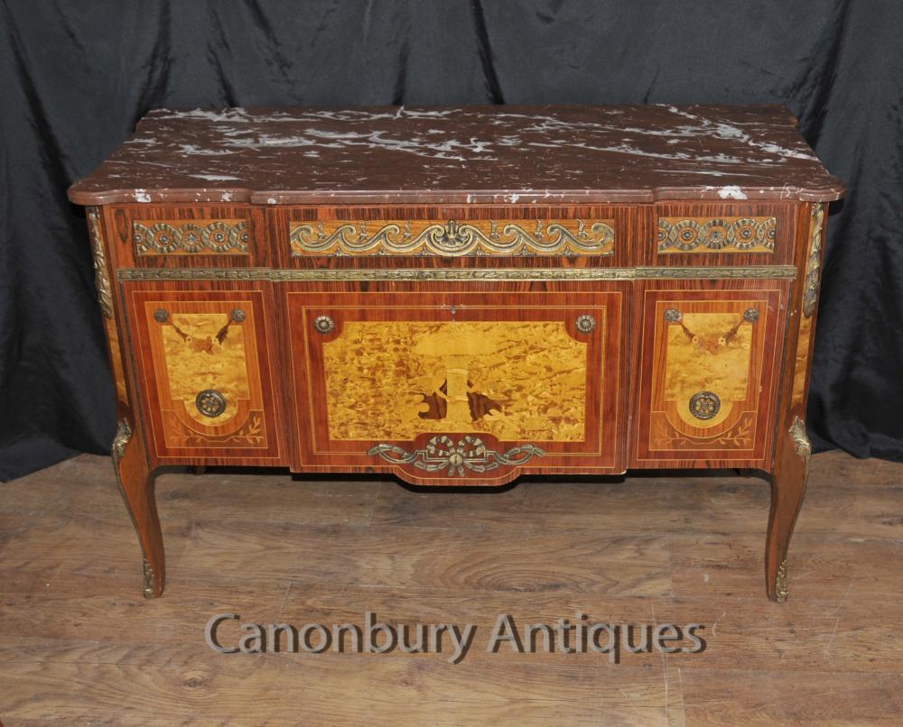 Antique Französisch Kommode Schubladen Kommode Cherub Inlay Reich Antiquitäten
