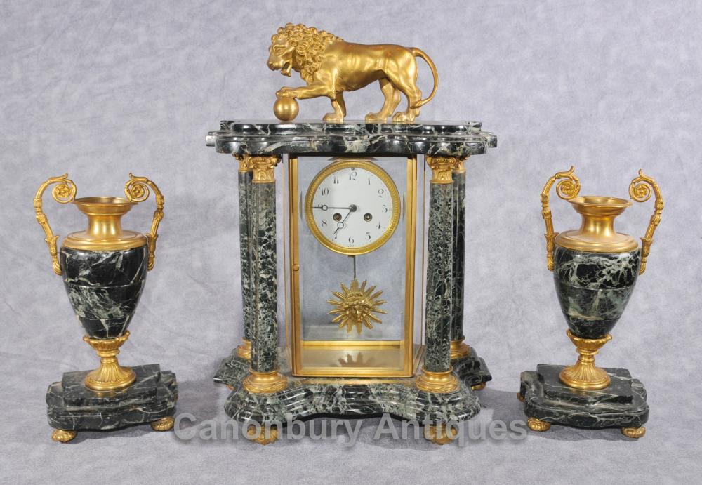 Antique Französisch Napoleon III Uhr Garniture Urn Set Kaminuhren