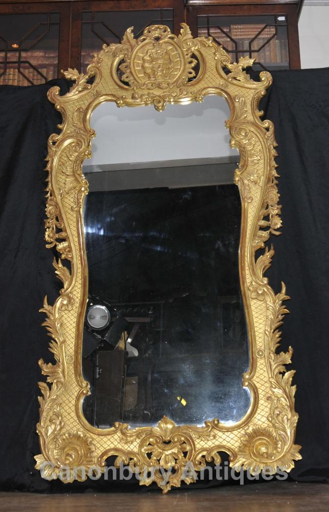 Big Französisch Louis XVI Vergoldete Pier Spiegelglas Spiegel