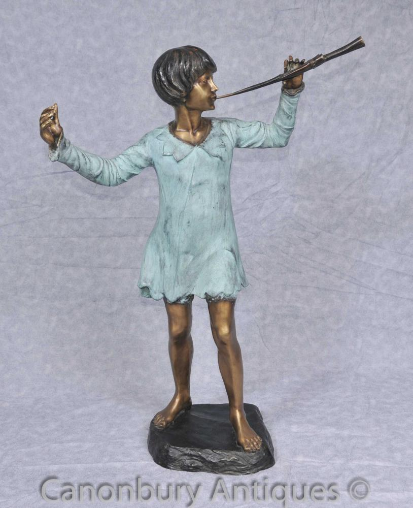 Bronze-Statue Peter Pan Figurine JM Barrie Holland Park