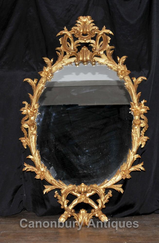 Chippendale Gilts Oval Spiegelglas Spiegel Rokoko