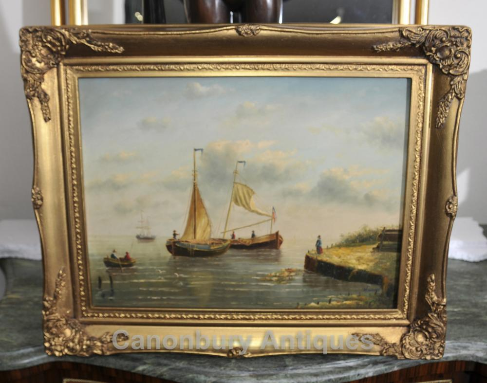 Dutch Ölgemälde Angeln Seascape Segel Maritime Kunst