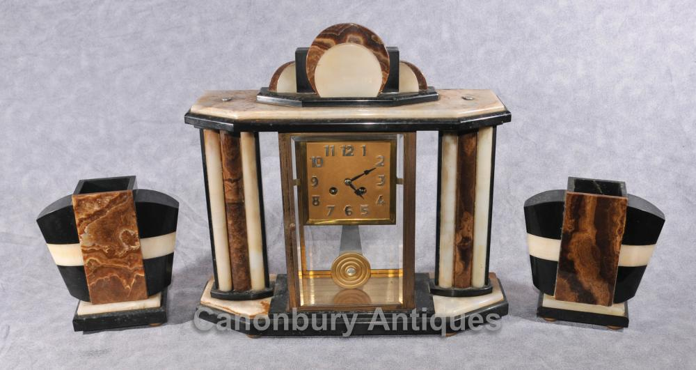 Französisch Antik Art Deco Clock Set Garniture Marble Mantle 1920 Uhren