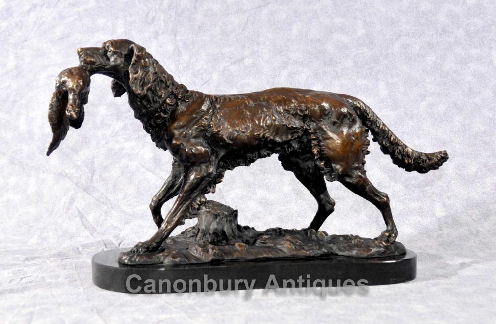 Französisch Bronze Moigniez Hunter Hunde Statue Bloodhound Fasan Jagdhunde