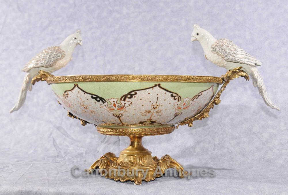 Französisch Bronze Parrot Ormolu Bowl Comport Terrine Dish Vogel-Bad